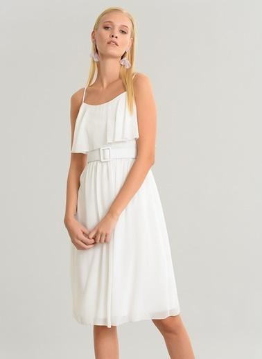 People By Fabrika Volan Detaylı Şifon Elbise Beyaz